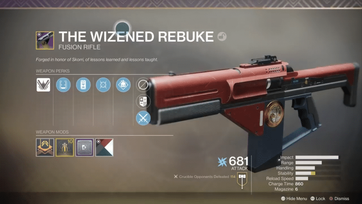 Destiny 2 Wizened Rebuke Curated Roll
